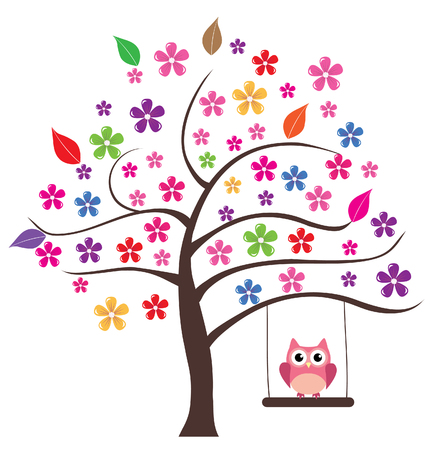 vector floral tree with owls swinging
