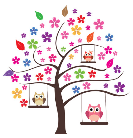 vector floral tree with owls swinging Vector