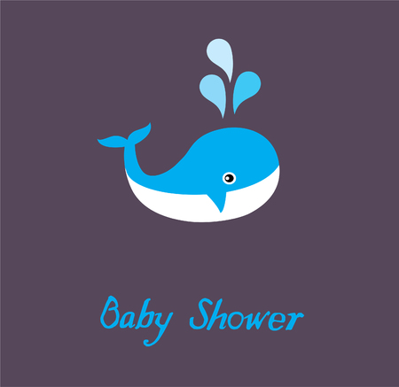 vector baby shower with a whale