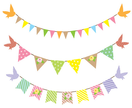 triangular banner: vector bunting background with roses Illustration