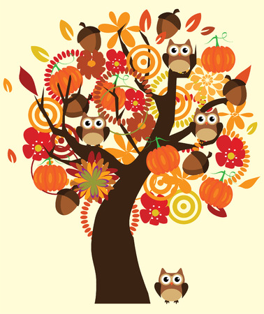 vector fun fall tree with flowers, acorns, pumpkins and owls Çizim