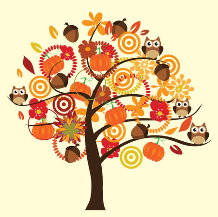 vector fun fall tree with flowers, acorns, pumpkins and owls 일러스트