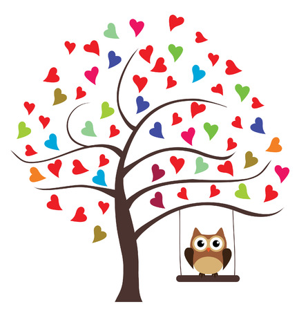 family: vector tree with hearts and owl swinging