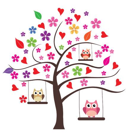 ベクトル花と木と心フクロウ家族スイング  イラスト・ベクター素材
