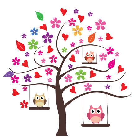 owl illustration: vector floral tree with hearts and owl family swinging Illustration