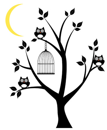 vector tree silhouette with owls, cage and moon crescent Vector