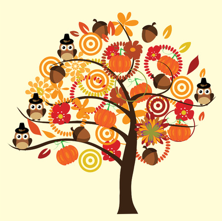 vector fall tree with owls, acorns, pumpkins