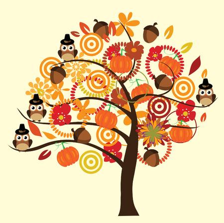 vector fall tree with owls, acorns, pumpkins Vector