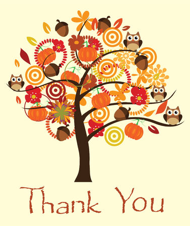 vector thank you card with fall tree and acorns, owls, pumpkins