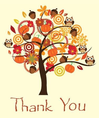 caes: vector tarjeta de agradecimiento con el árbol de otoño y bellotas, búhos, calabazas