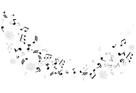 vector musical notes with maple leaves silhouettes Vector