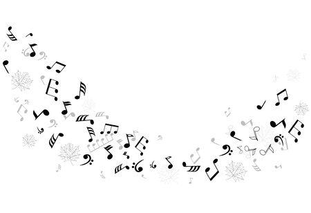 vector muzieknoten met esdoorn bladeren silhouetten