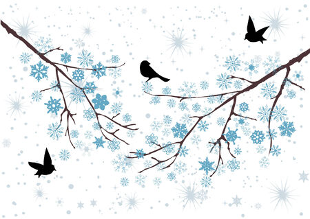 winter tree: vector snow branches with snowflakes and birds