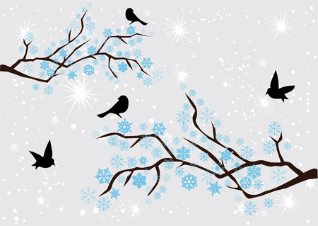 birds silhouette: vector snow branches with snowflakes and birds