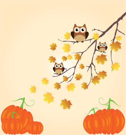 thanksgiving family: vector thanksgiving background with owls, pumpkins, fall tree branch