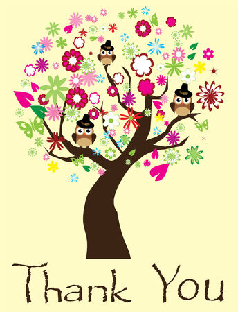 vector thanksgiving background with tree and owls