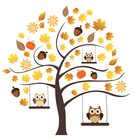 owl illustration: vector owl sitting in the tree