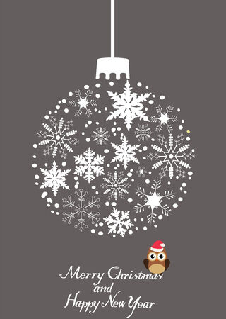 owl illustration: vector Christmas tree snowflake ball with owl in a hat