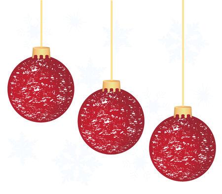 vector Christmas tree balls with snow