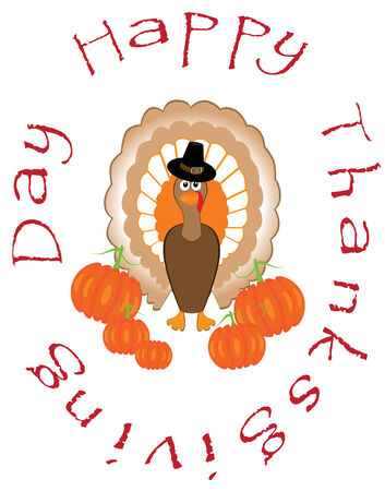 vector thanksgiving turkey with pumpkins card