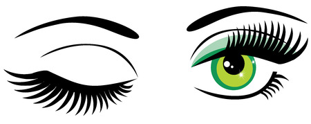 winking: vector green eyes with long lashes and make up winking