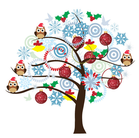 vector tree with owls, snowflakes, balls Vector