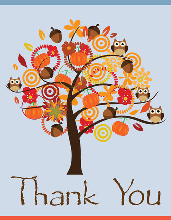 vector thank you card with tree, pumpkins, owls, acorns Vector