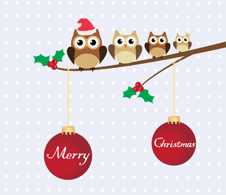 vector Christmas card with owl family Vector