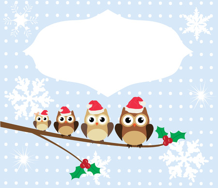 owl family: vector owl family in Santa hats in the tree Christmas card Illustration