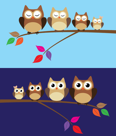 vector owl family at night and during the day 일러스트