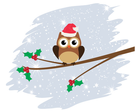 owl family: vector Christmas card with owl family Illustration