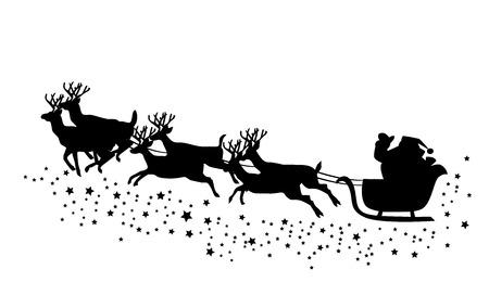 vector Santa Claus flying with reindeer
