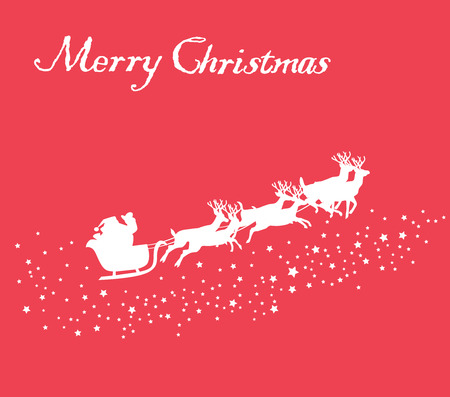 vector Christmas card with Santa Claus and deer flying