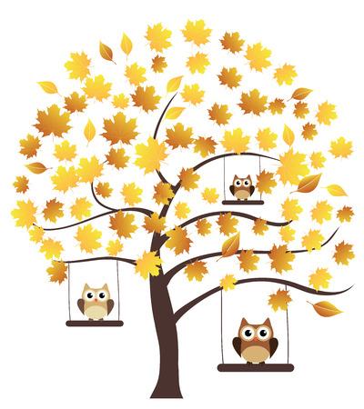 arbre automne: vecteur arbre d'automne avec des feuilles et des hiboux balancement