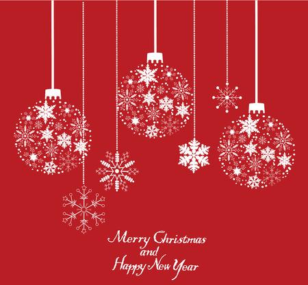 vector snowflake Christmas tree balls background