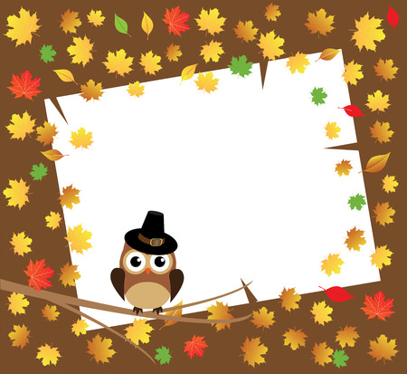 vector owl in the tree fall background with leaves Vector
