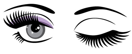 winking: vector eyes with make up and long lashes