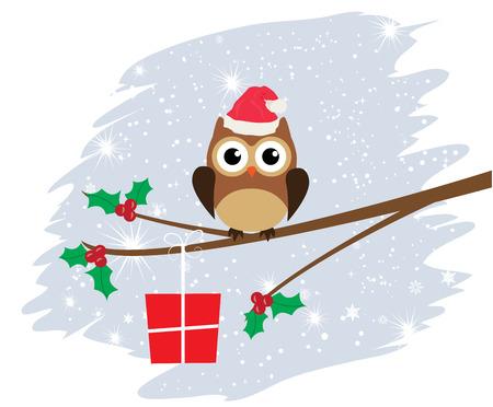 Vektor-Eule in Santa Hut mit Geschenk Weihnachtskarte Vektorgrafik