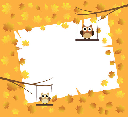 you are special: vector owl in the tree fall background with leaves Illustration