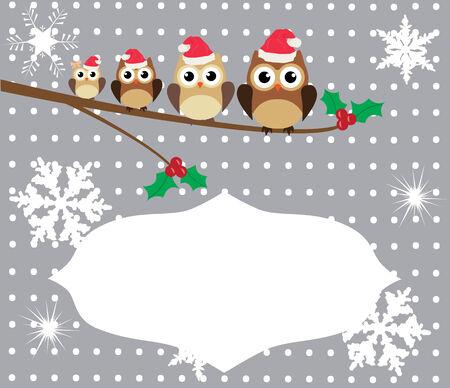 owl family: vector owl family in Santa hats Christmas card Illustration