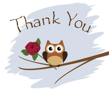 フクロウとバラ ベクトルありがとうカード  イラスト・ベクター素材