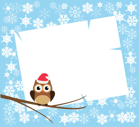 the trappings: vector winter card with copyspace, snowflakes, owl in a Santa hat
