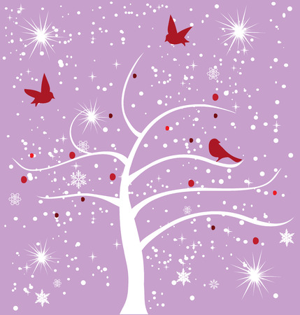 vector snow tree with snowflakes and birds Vector