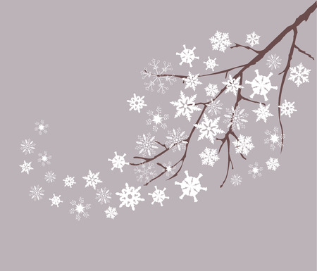vector snow tree with snowflakes and birds