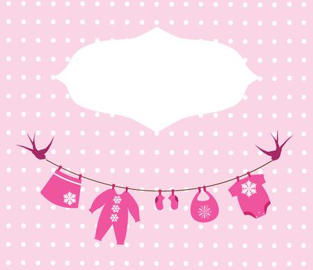 ropa colgada: ropa de beb� de la ducha