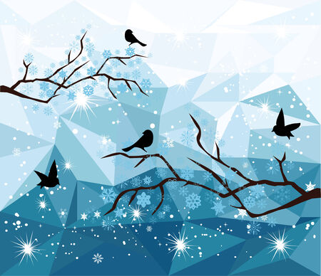 winter tree: vector snow tree branches with birds