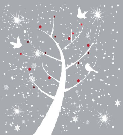 snow tree with birds and red berries Vector
