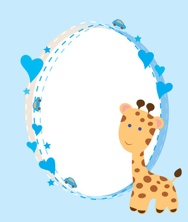 vector baby shower card with cute giraffes