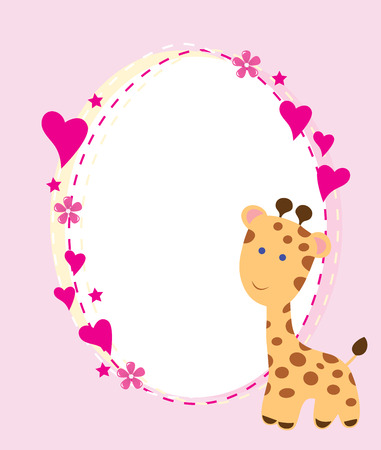hanging girl: vector baby shower card with cute giraffes