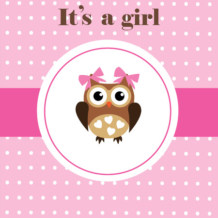 vector baby shower card with cute owl Stock Vector - 35253790